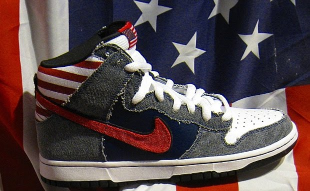 """buy popular d6dd7 627a1 The Nike SB Dunk High QS """"Born in the U.S.A"""" draws inspiration from Bruce  Springsteen s Born in the U.S.A. album cover which features  The Boss  in  some ..."""