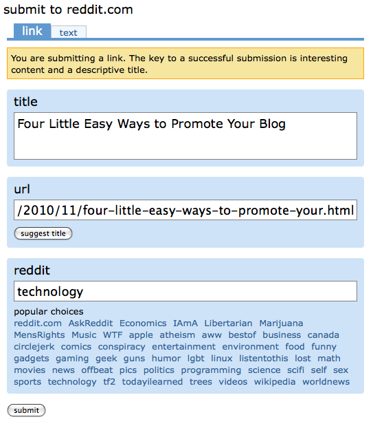 Lessons for Old People: How to Submit a Link to Reddit