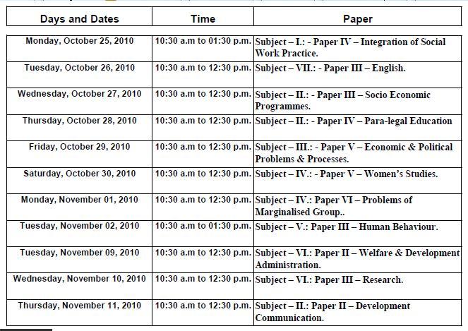 half exam time table