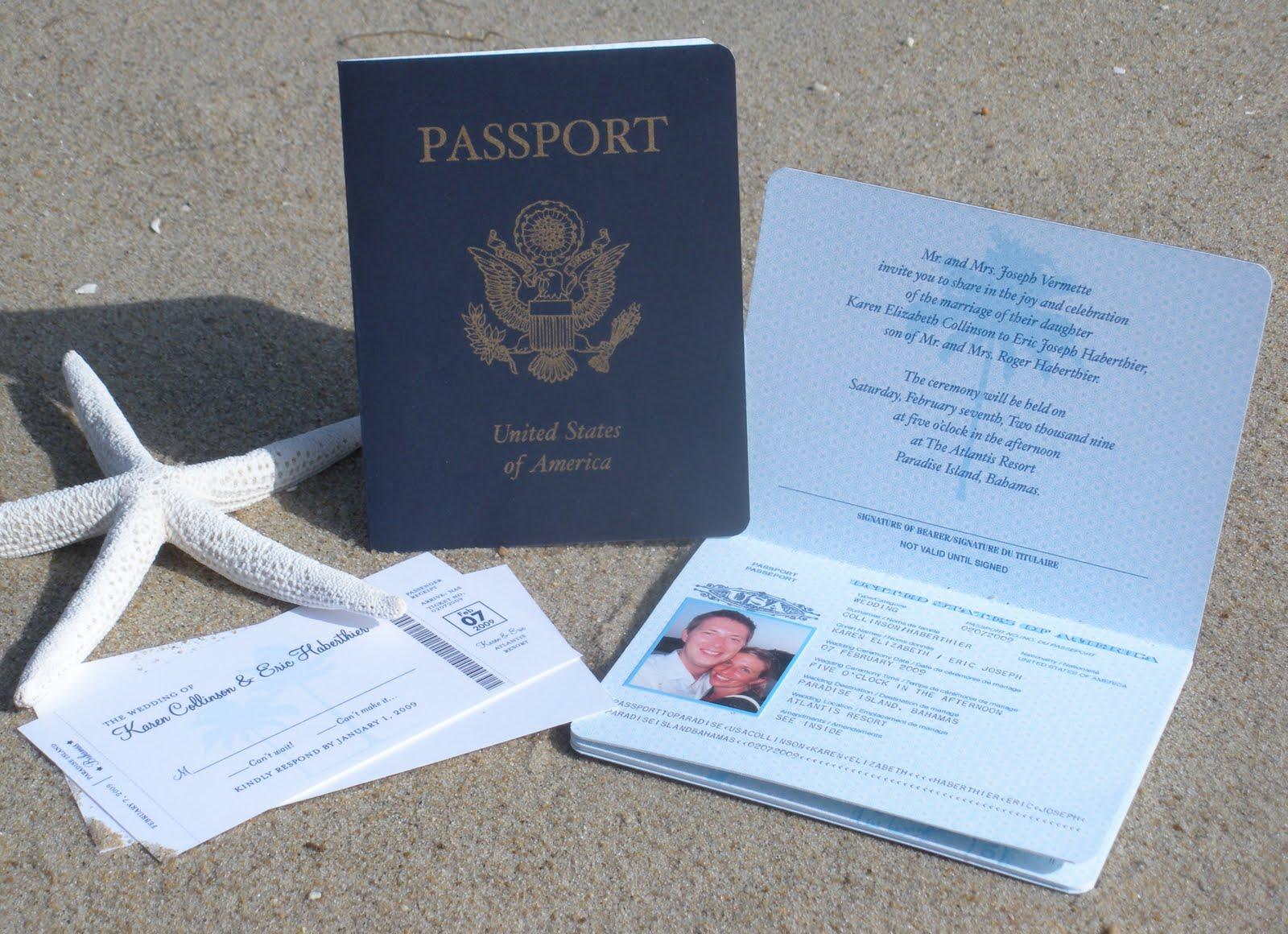 passport to atlantis destination wedding invitations Passport to Atlantis Destination Wedding Invitations