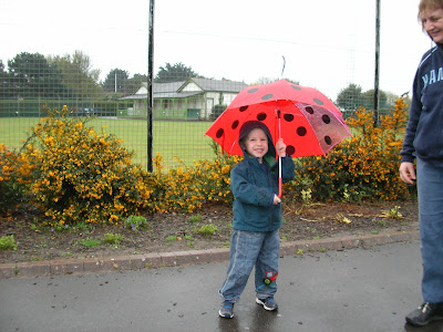 good polka dot umbrella in front of lumps fort portsmouth