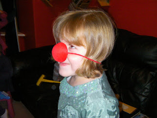 Erin rudolph the red nosed reindeer, silly nose