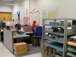 disc drive manufacturing plant office with england flags