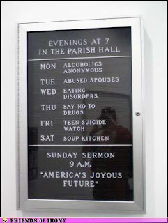 america's joyous future, depressing church sign