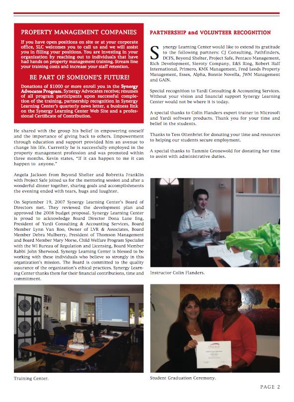 Graphic Design Portfolio: SYNERGY Learning Center a Non-Profit