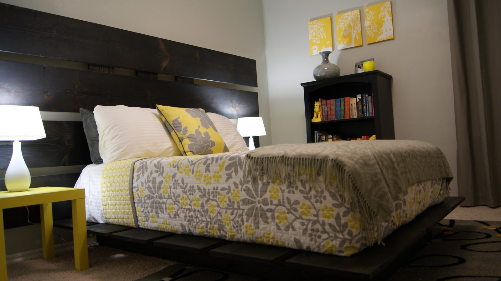 Bedrooms In Gray Living Small Yellow And Gray Bedroom Update