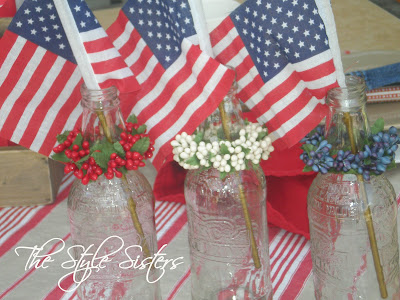 Root Beer Bottle Centerpiece- The Style Sisters, Red White and Blue Tablescape
