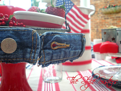 Red White and Blue tablescape- The Style Sisters, Denim Cake stand, 4th of July  Table decorations