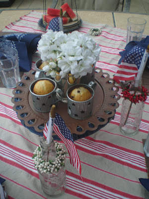 Rustic red white and blue tablescape, Country Tablescape, Memorial Day Table decor, 4th of July table decor,  Red white and Blue