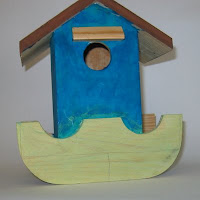 tiki hut mosaic bird house