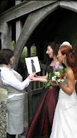 A happy Bride and Bridesmaid being shown silhouettes