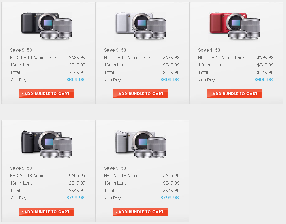 Save $150 on Sony NEX Bundles