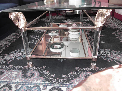 DE PASO PASEO mesa ratona con vidrio biselado espejo y 4