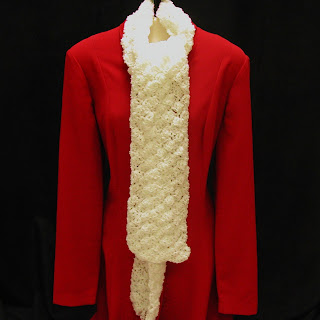 This white crochet scarf in boucle yarn is available at AllThingsTangled.etsy.com