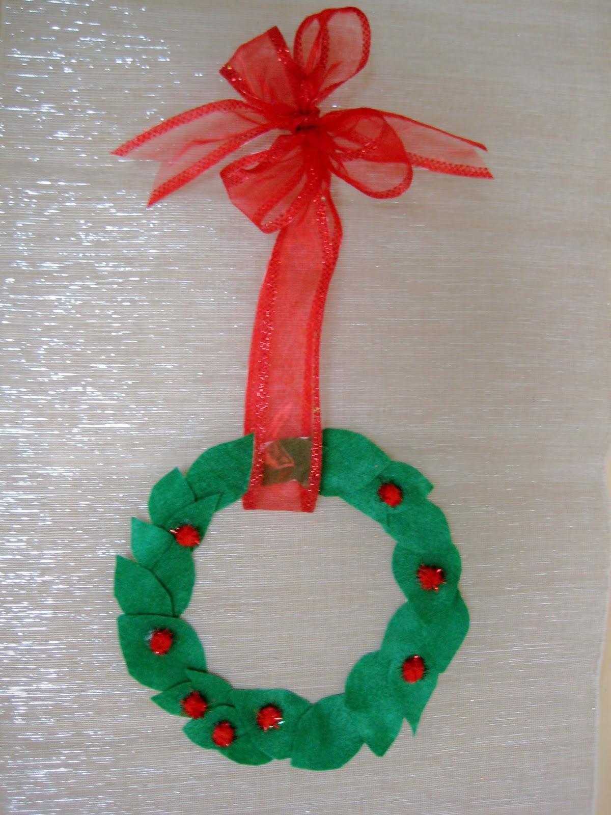 Christmas Kids Craft Simple Wreath Valentine Craft Ribbon