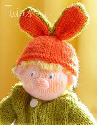 knitted doll, knitted rabbit