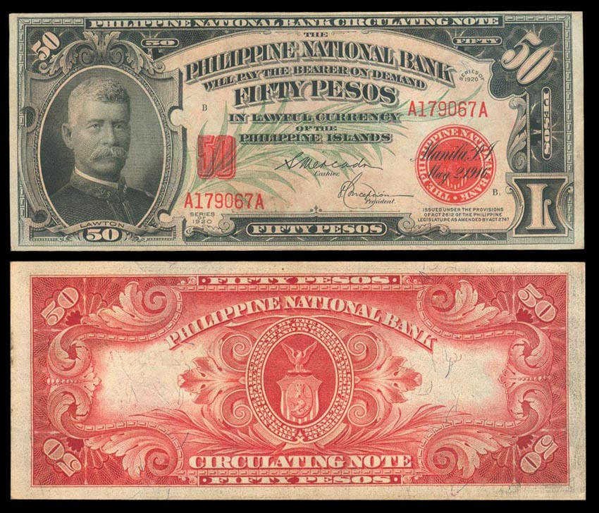 1920 Philippine National Bank 50 Pesos