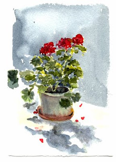 Geranium, a watercolor sketch by Nancy Van Blaricom