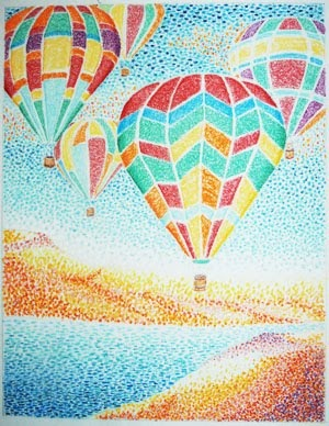 The Colorful Pastel Pastel Painting of Hot Air Balloons