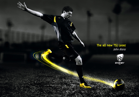 In This Particular Poster Nike Has An Ad With John Aloisi Which They Are Marketing Their Soccer Products While Still Demonstrating Implied Motion