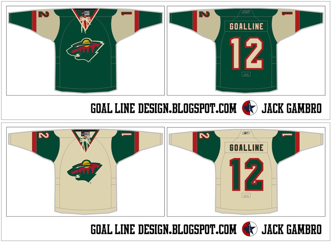 Goal Line Design sent in a new concept for a home and road jersey for the  Wild. The jerseys are green and wheat 73db73d13