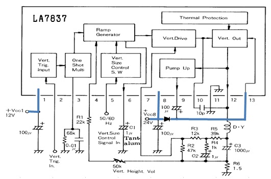 electronics repair made easy: PANASONIC TV MODEL TC14E1T with intermittent single horizontal