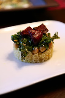 Saffron quinoa, kale and beet stack