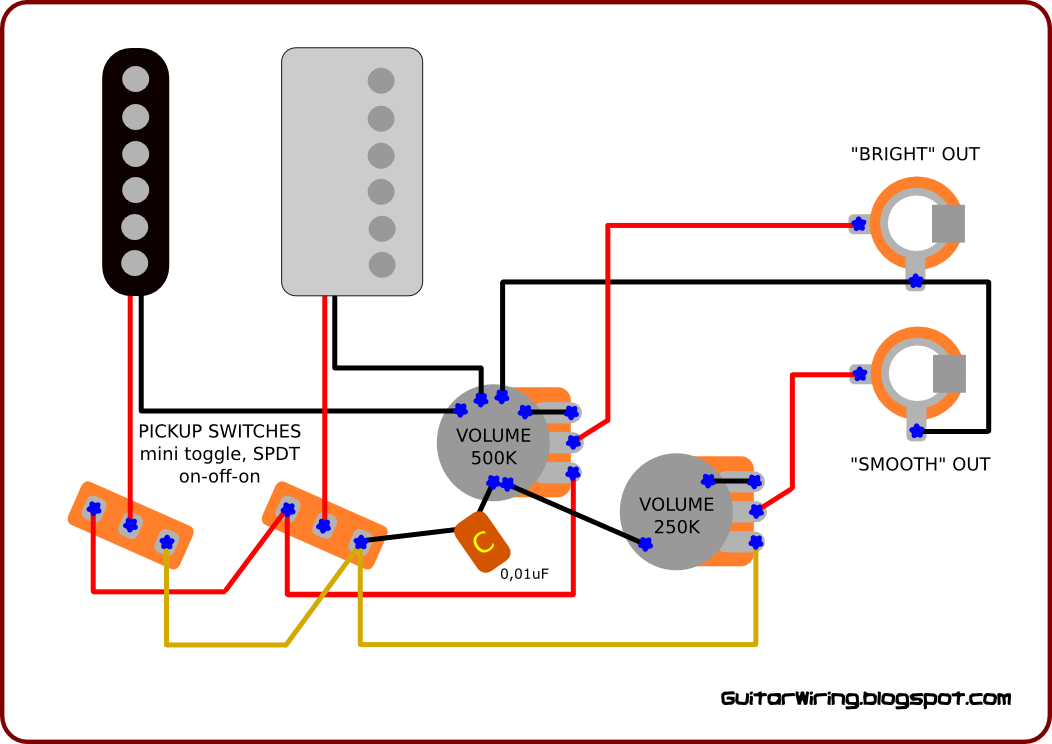 guitar wiring schematics with 2 double coil pick ups 1 vol 1 tone 13 way guitar wiring schematics the guitar wiring blog - diagrams and tips: october 2010 #14
