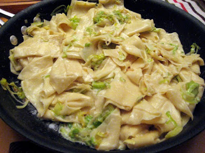 Homemade Rough Cut Pasta With Leeks