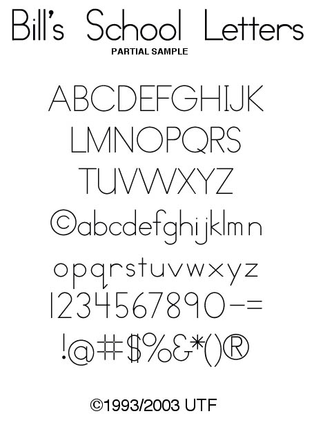 UTF Type Foundry: The Elementary School Package