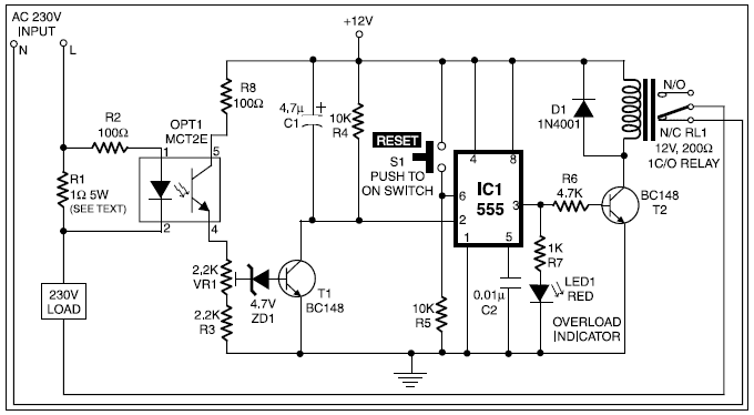 All Electronics: Overload protection circuit using 555 timer