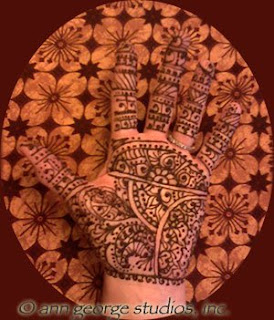full palm henna tattoo traditional pattern