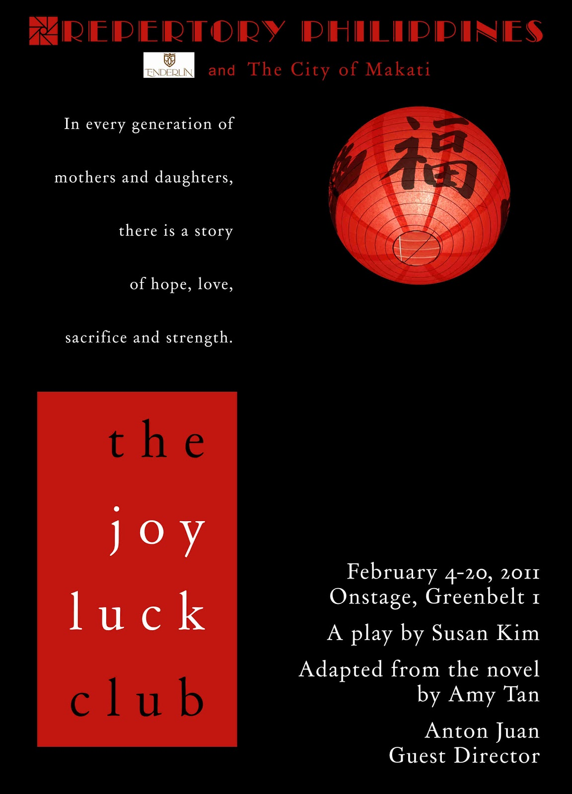overtures and finales repertory stages the joy luck the joy luck club the best selling novel by amy tan which was also made into a movie directed by wayne wang is now a play