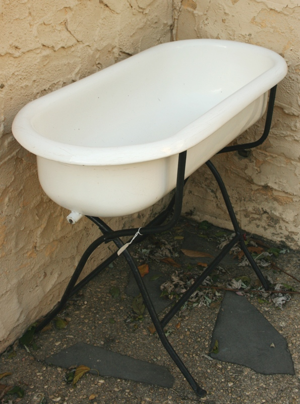 Beach House Living Vintage Baby Tub With Iron Stand