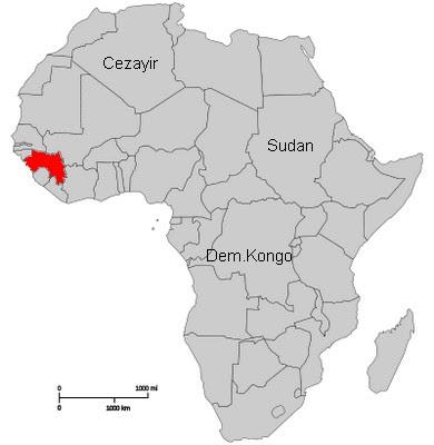 Gine nerde. Gine harita. Gine afrika harita