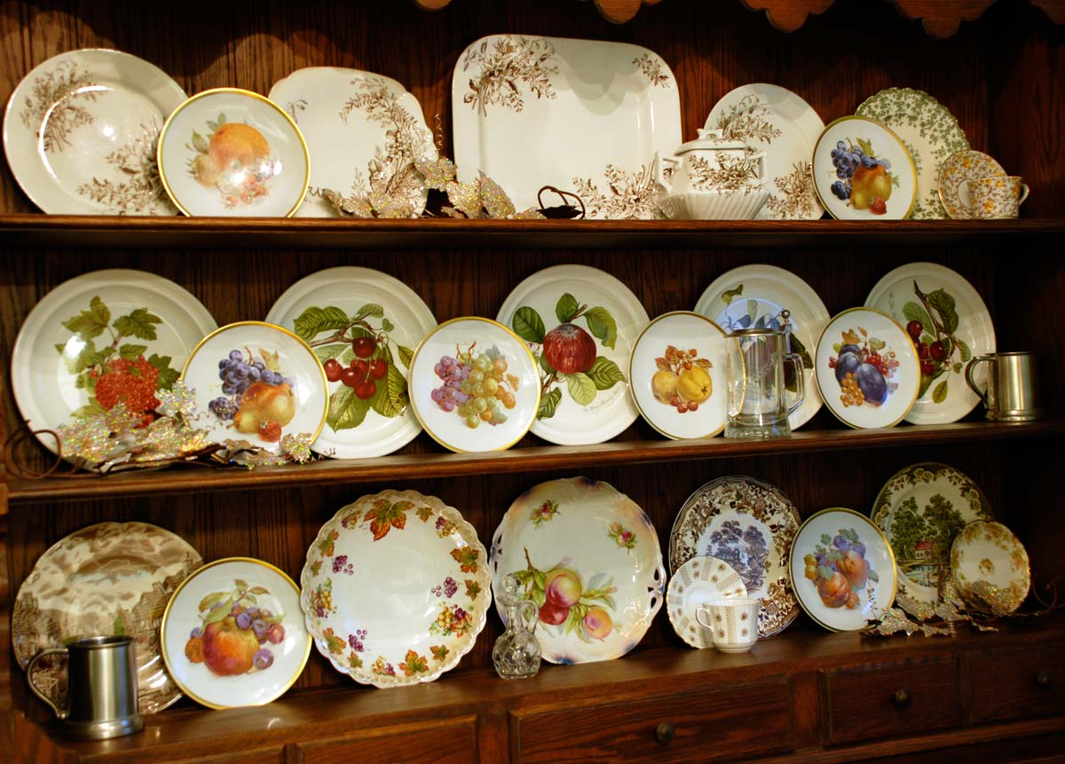Fall China cabinet hutch Welsh Dresser Thanksgiving china display