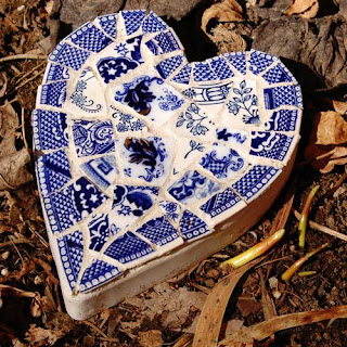 mosaic heart stepping stone