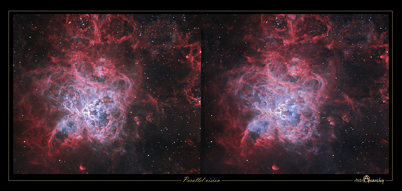 Astro Anarchy Stereo Pairs Of Two Nebulae The Tarantula The Wizard