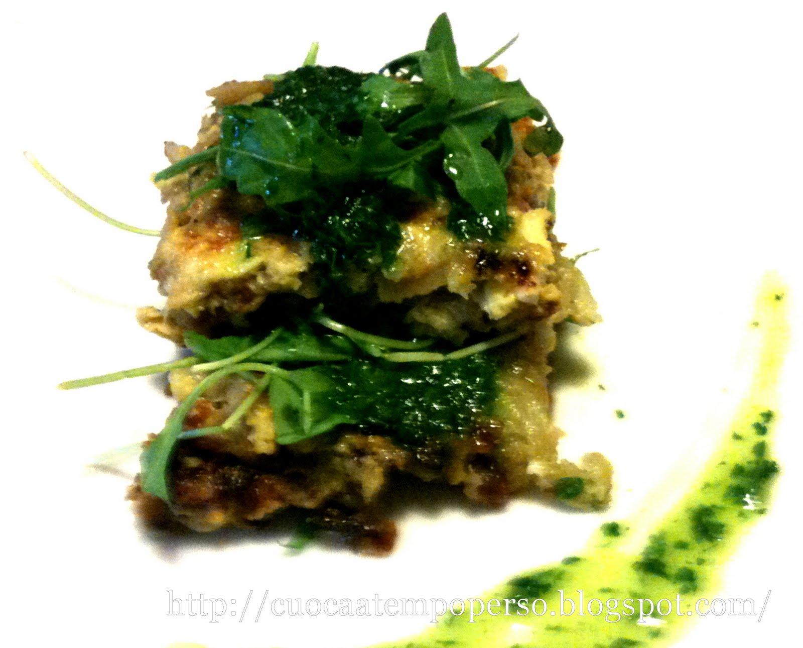 Torretta di Topinambur, Rucola con Salsa verde al profumo di Clementino