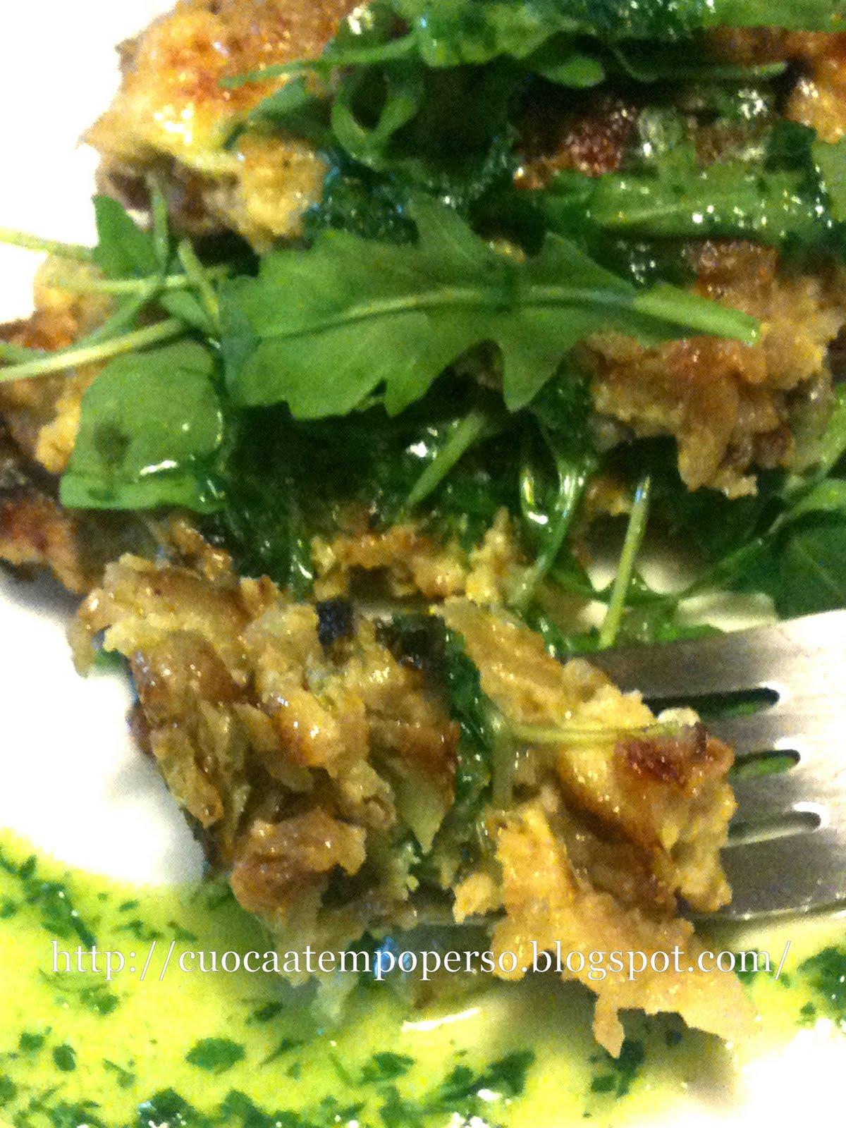 Torretta di Topinambur, Rucola con Salsa verde al profumo di Clementino alessandra ruggeri