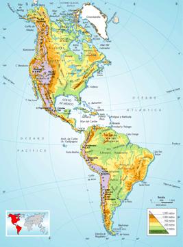 Mapa Fisico De America.Marcos Gonzalez Vazquez Mapa Fisico De America