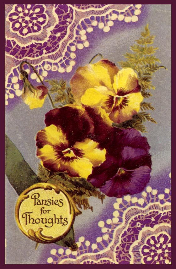 ArtbyJean - Paper Crafts: Card prints with pansy and lace