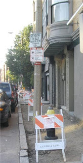 photograph of inaccessible sidewalk under construction