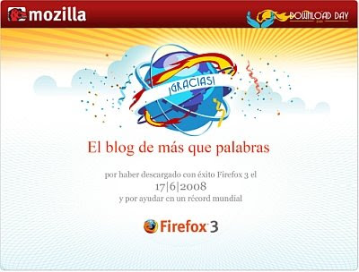 Certificado Download Day de Firefox 3