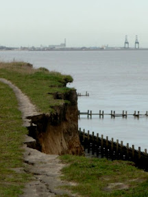 On the left, the footpath succombs to coastal erosion at Corton. On the right, a ship heads out to sea at Gorleston