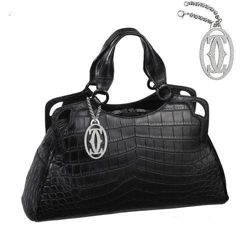 Marcello De Cartier Black Crocodile Leather Medium Handbags With A Platinum And Inlaid Dense Diamond Accessory Only Individual Custom