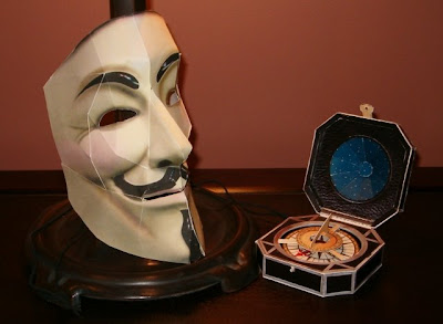 V for Vendetta Mask and Jack Sparrow Compass Paper Models