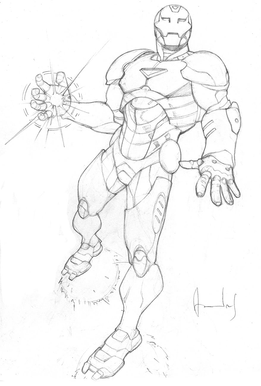 Iron Man Full Body Drawing Sketch Coloring Page