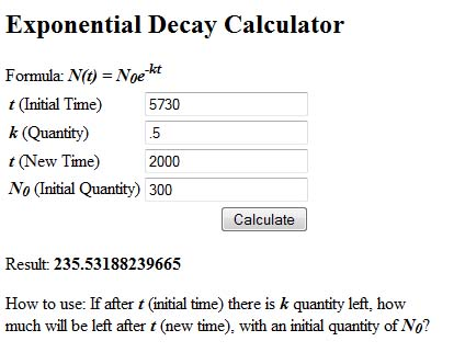 Exponential decay function calculator