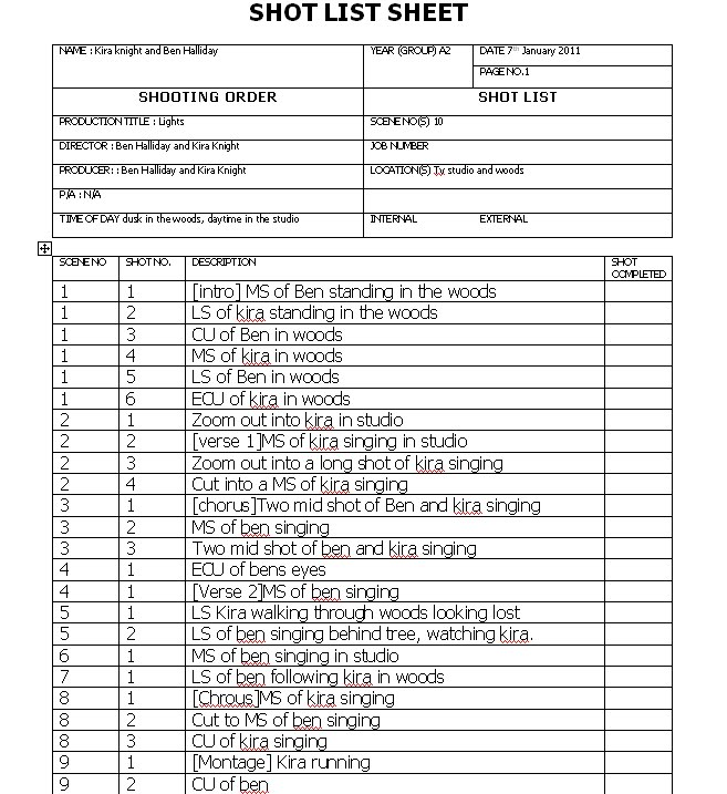 A2 Media Pop Promo: Shot list for music production
